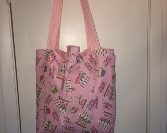 "Happy Birthday Princess Tied Tote Bag - 15"" Lined handmade tote bag"