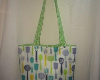 "Kitchen Utensils Print Handmade 14"" x 14"" (green gingham)  Lined Tote Bag"