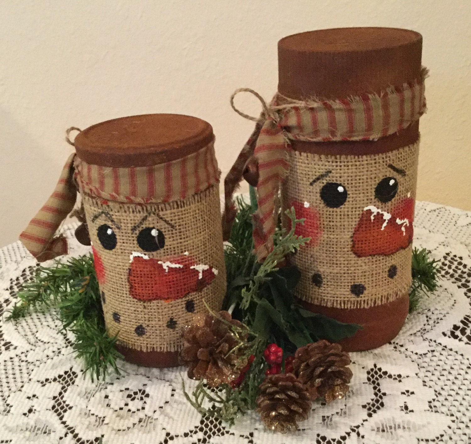 Snowman burlap jar wrap faux rusty finish snowmen holiday for Snowman made out of burlap