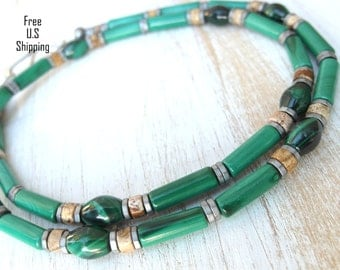 Men's Malachite Necklace, Men necklace, malachite necklace, beaded necklace, gift for him, gemstone necklace, Jewelry for men, fathers day