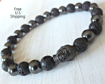 Men's Magnetic Hematite & Lava Meditation bracelet with Buddha bead,  Reiki charged, Free shipping