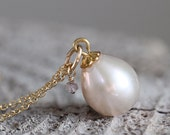 Teardrop Pearl and Rough Diamond Necklace - June / April Birthstone Necklace