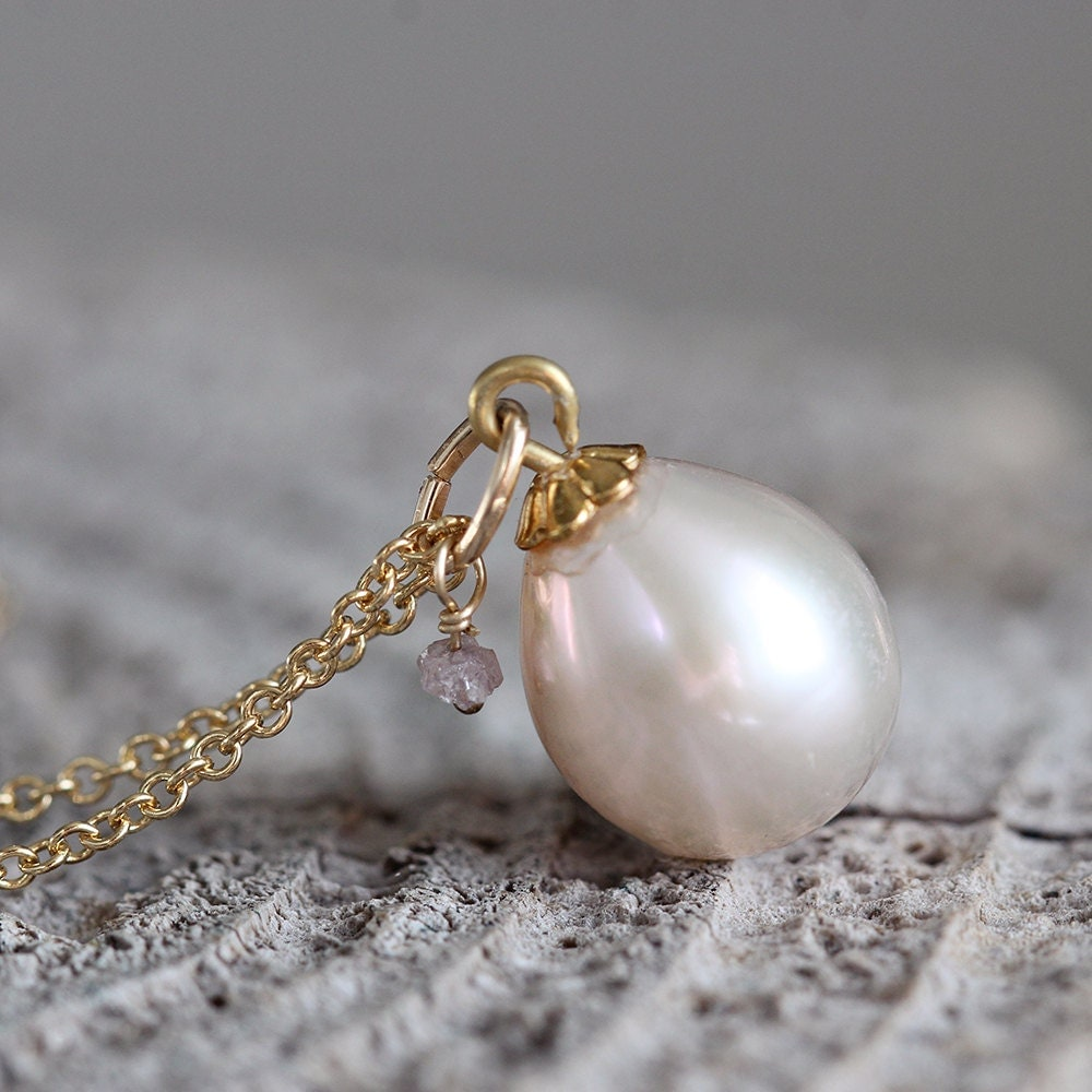Pearl Teardrop Necklace - Ivory Pearl Necklace -  Rough Diamond Necklace - June / April Birthstone Necklace - Pearl Jewelry for Women