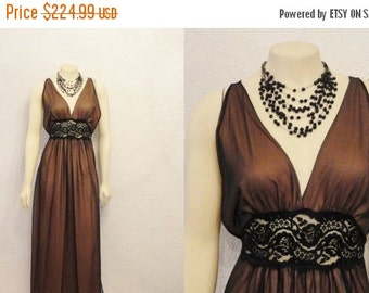CLOTHING SALE Vintage Nightgown 60s Intime Negligee Greek Goddess Mad Men Brown & Black Chiffon Old Hollywood Glamour Modern s m l RARE