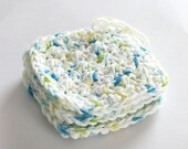 SHOP CLOSING SALE Large Square Face Scrubby Set . Set of 3 . Crochet . 100 Percent Cotton . White, Blue, Yellow & Green
