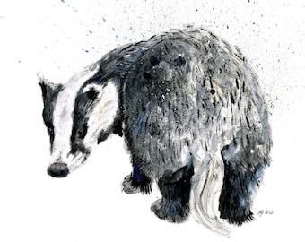 Mounted Limited Edition Giclee Print of 'Does My Bum Look Big in This?' Badger
