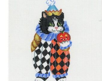 Needlepoint Handpainted Canvas Halloween - Clown Kitty