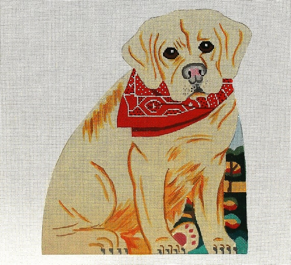Needlepoint Handpainted Dog Canvas - Yellow Labrador Retriever front, back and bottom