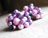 Vintage 1960s Purple Lilac Beaded Clip On Clipon Earrings