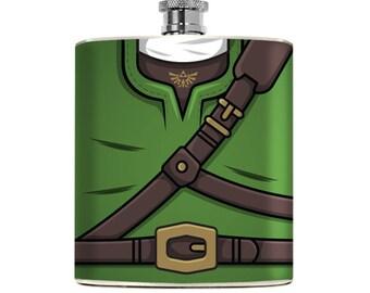 Mens Flask Video Game Character Guys inspired Link Flask Superhero Drinking Liquor Zelda Groomsmen Gift Wedding Legend Hip Flask Pocket