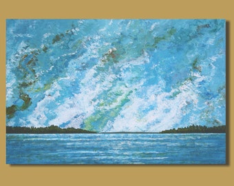 FREE SHIP large abstract cloud painting, abstract painting, blue white panoramic wall art, ocean painting, expressionist landscape beach art