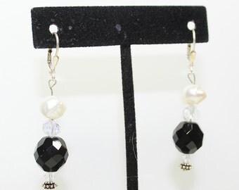 Black crystal and Pearl drop earrings