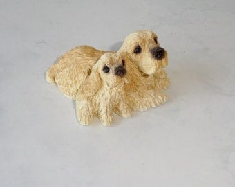 Vintage Cocker Spaniel with Puppy Small Stone Critters or Sandicast