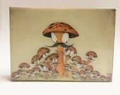 Mustache Mushroom Art, kitchen art,  Birthday Gift watercolor art, ink, Gift for sister, Resin, Home Wall Art