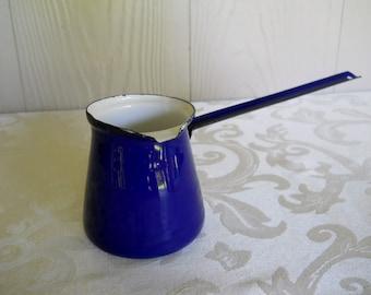 Vintage Royal Blue and White Enamel Turkish Coffee Ladle Butter Warmer Little Pot
