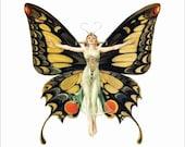 Instant Digital Download, Vintage Butterfly Fairy, Art Nouveau Woman, Wall Art Decor, Note Card