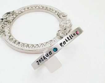 Mothers Day Personalized Birthstone Bracelet - Personalized Cuff Bracelet - Personalized Mother's Bracelet - Name and Birthstone Bracelet