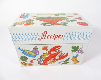 Vintage Ohio Art Metal Recipe Box -  Ohio Art Food Pattern Tin Box with Divider Cards