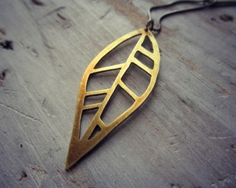 Geometric Leaf Pendant - Boho Brass and Sterling Silver Necklace