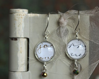 Earrings, Victorian era journal clippings, under glass
