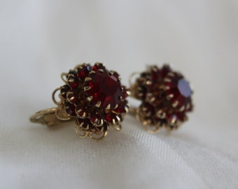 Red Rhinestone Earrings-- BEAUTIFUL