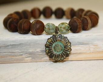 Sunflower Charm, Tibetan Dzi bead bracelet, Brown wood grain agate beads, Brown stone bracelet, Brown stacking bracelet,