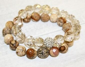 Beaded bracelet set, Sand Jasper bracelet, Gemstone Bracelet, Stacking bracelet, Yoga jewelry