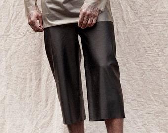 Matte latex jean shorts