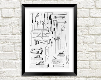 CARPENTRY TOOLS PRINT: Vintage Tool Art Illustration Wall Hanging (A4 / A3 Size)