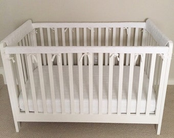ORGANIC Crib Guards -- 4pc Custom Crib Rail Teething Guards for Baby/Toddler in white
