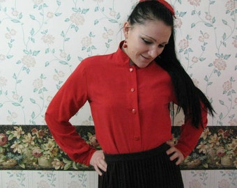 Vtg red heavy silk shirt by Worth OVERSIZE 4