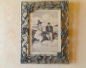 Vintage Art Post Card in Floral Ornate Picture Floral Roses Frame Love Beach Relationships Writing in the Sand Lovers