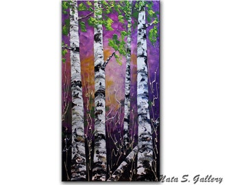 Original Birch Tree Painting.Modern Textured Painting.Palette Knife.Impasto.Purple Birch Forest.Landscape Painting.MADE2ORDER  - by  Nata S.