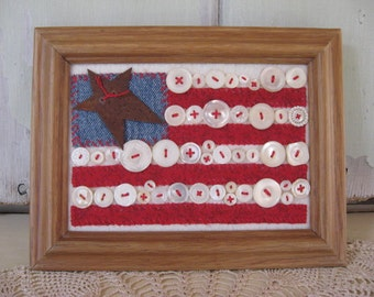 Flag Old Glory American Flag Old Buttons Wall Hanging Oak Stained Wood Frame Home Decor Red White Blue Patriotic