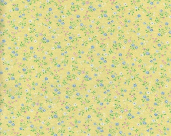Yellow Floral Cotton Fat Quarter Fabric