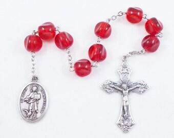 Saint John Chaplet, John the Evangelist, the Beloved Apostle, Red Glass Beads, Patron Saint of Writers, Publishers, Editors, Theologians