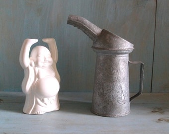 Vintage Oil Can - Galvanized Metal 1 quart, Watering Can, Flower Vase, Industrial Rustic Farmhouse