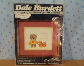 Dale Burdett 1985 Pitiful Pals Counted Cross Stitch Kit Lovable Pal with Puppies