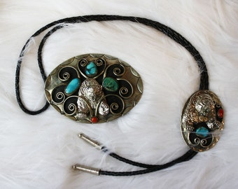 Vintage Southwestern Bear Turquoise & Coral Belt Buckle and Bolo Tie Set
