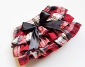 Baby Girl Bloomer-Flannel Plaid-Christmas Bloomer-Vintage baby girl-Red cream black plaid-Red Flannel Plaid ruffle diaper cover-