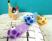 Trio of Spotted Fish Catnip Cat Toys - Needle Felted Wool