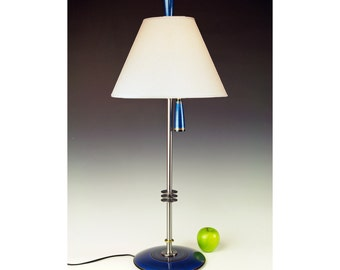Lamp for side table, bedside or desk. 267. Hand painted. Blue Teal. Matching finial and pull chain. Matching pair available.