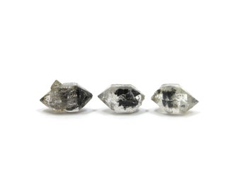 Herkimer Diamond Style Tibetan Quartz 3 Raw Crystals 11mm - 12mm x 7mm Natural Rough Stones for Jewelry (Lot 9487)