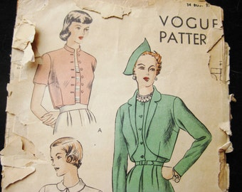 Vintage 40s VOGUE 6311 Bolero Jacket Sewing Pattern size 16