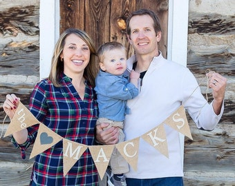 Last Name Banner - Personalized Name Banner - Family Name Sign - Family Photo Prop - Custom Name Sign - Family Banner - Wedding Decor