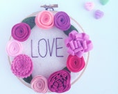 Valentine's Day Gift - Love Sign with Red and Pink Felt Flowers
