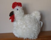 Hand Knitted Tea Cosy -  Fluffy Chicken Hen in Natural/Off White
