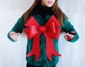 Big Bow Ugly Christmas Sweater Green Sweater Giant Red Bow Sparkly Cute Tacky. Vintage Sweater - Cardigan. Faux Fur Collar - Size s/m
