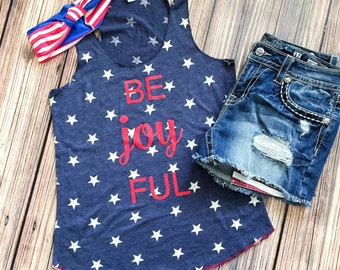 Patriotic Women's Star Tank. 4th of July USA women's Summer tank cute monogram. Red White Blue. America Stars and Stripes. Vintage be joyful