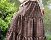 Plus size Maxi skirt - Gypsy tiered skirt - Long Boho skirt - Bohemian skirt -  Summer skirt - Full Large Skirt - Rustic skirt - Size XL XXL